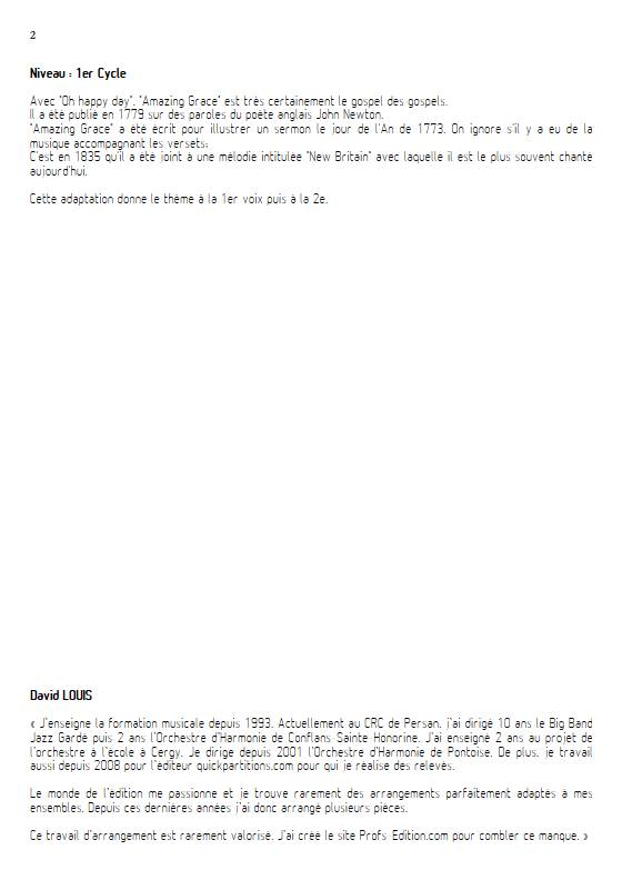 Amazing Grace - Ensemble Variable - TRADITIONNEL AMERICAIN - Educationnal sheet