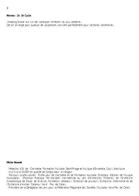 Amazing Grace - Quatuor de Saxophones - TRADITIONNEL AMERICAIN - Educationnal sheet