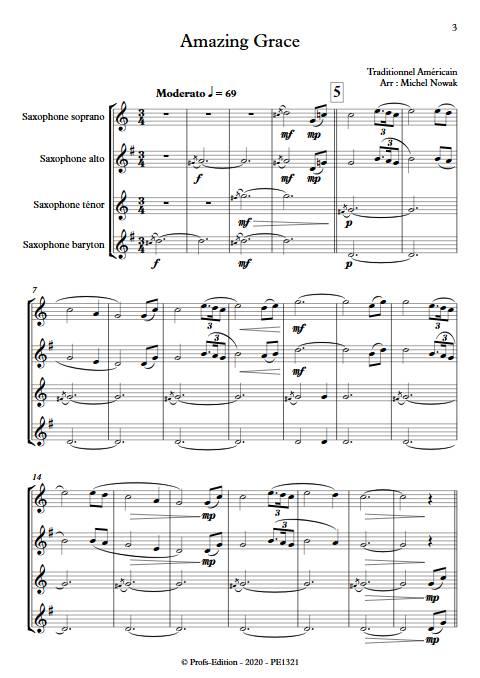 Amazing Grace - Quatuor de Saxophones - TRADITIONNEL AMERICAIN - app.scorescoreTitle