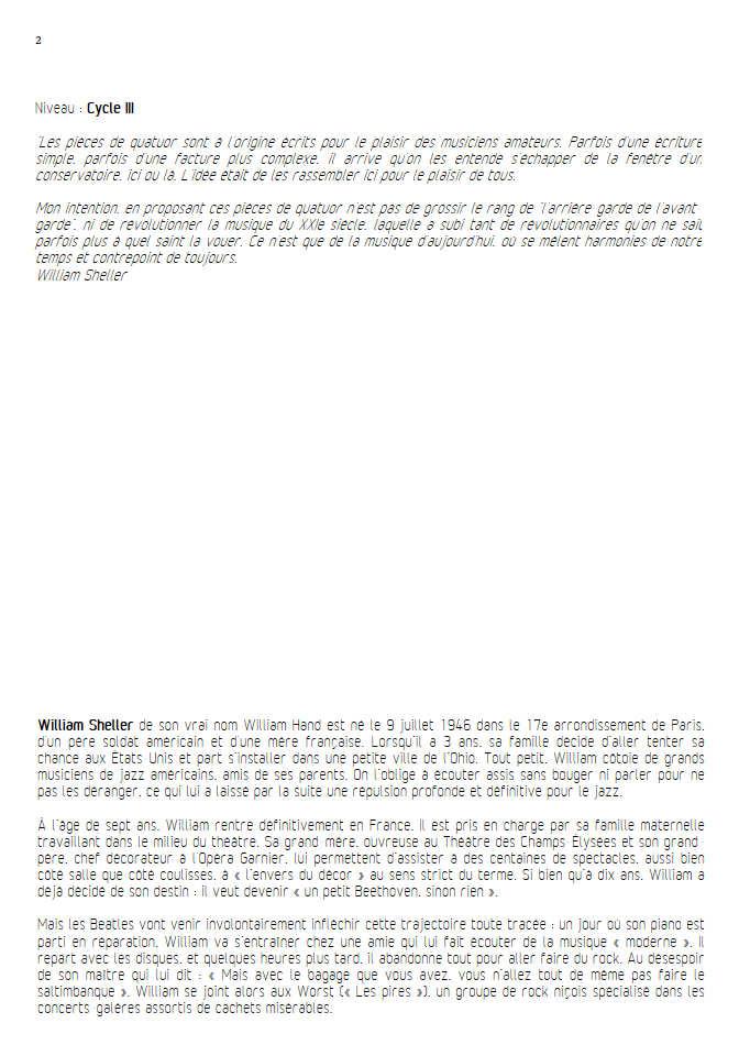 Ambre Ballade - Quatuor à Cordes - SHELLER W. - Educationnal sheet