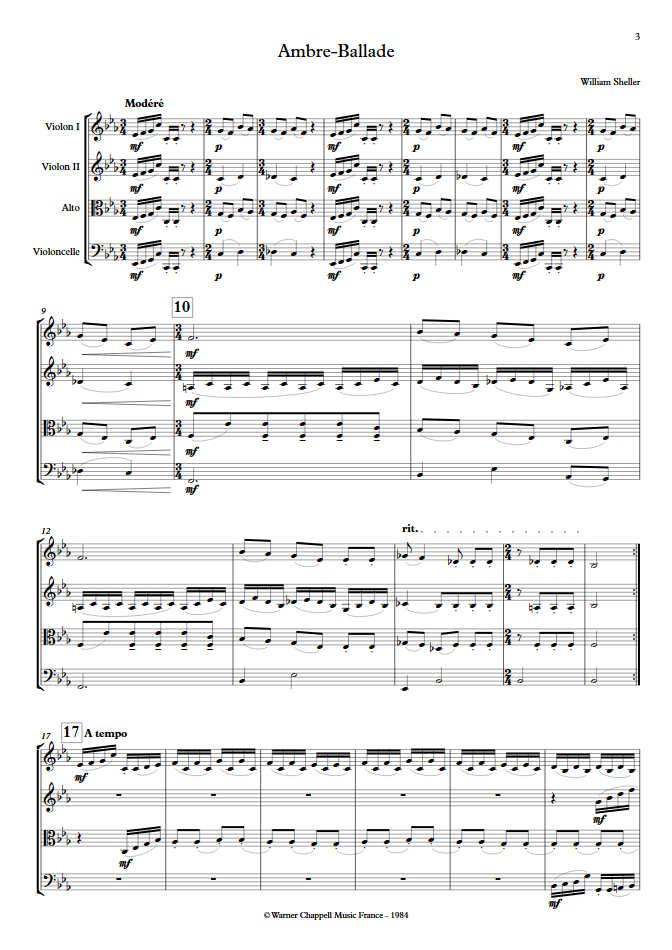 Ambre Ballade - Quatuor à Cordes - SHELLER W. - app.scorescoreTitle