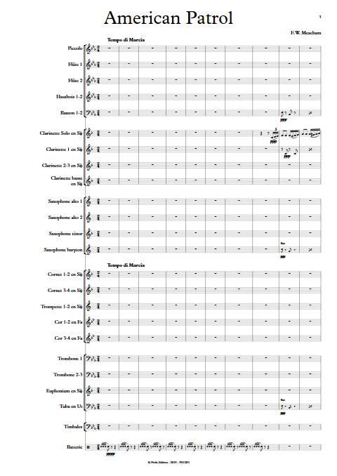 American Patrol - Orchestre d'Harmonie - MEACHAM F.W. - app.scorescoreTitle
