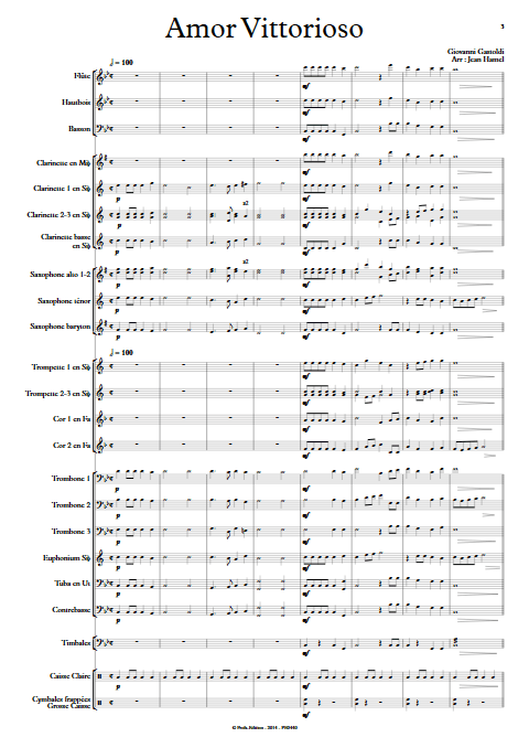 Amor Vittorioso - Orchestre d'Harmonie - GASTOLDI G. - app.scorescoreTitle