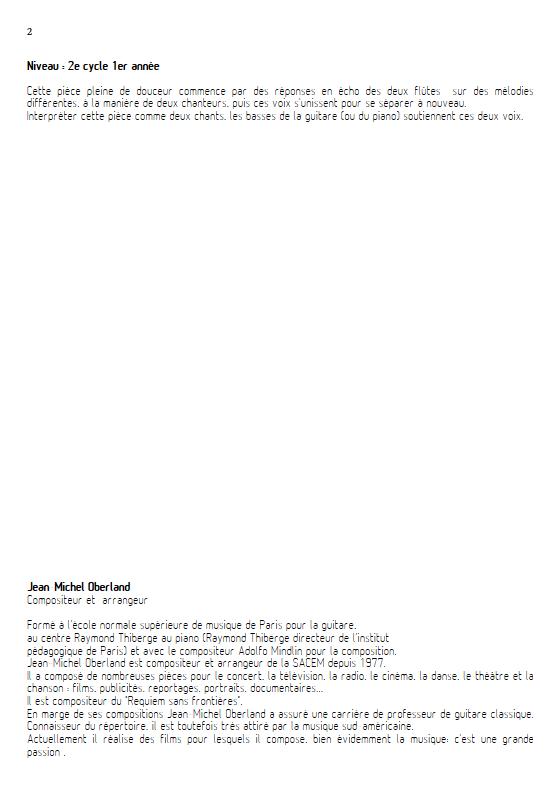 Angéline à l'Opéra - 2 flûtes et Piano - OBERLAND J. M. - Educationnal sheet