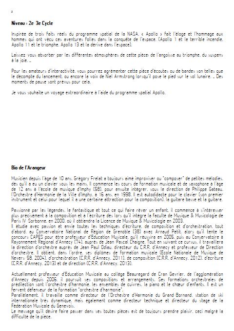 Apollo - Orchestre d'Harmonie - FRELAT G. - Educationnal sheet