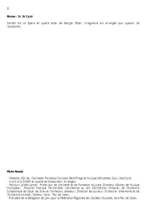 Aragonaise - Quatuor de Saxophones - BIZET G. - Educationnal sheet
