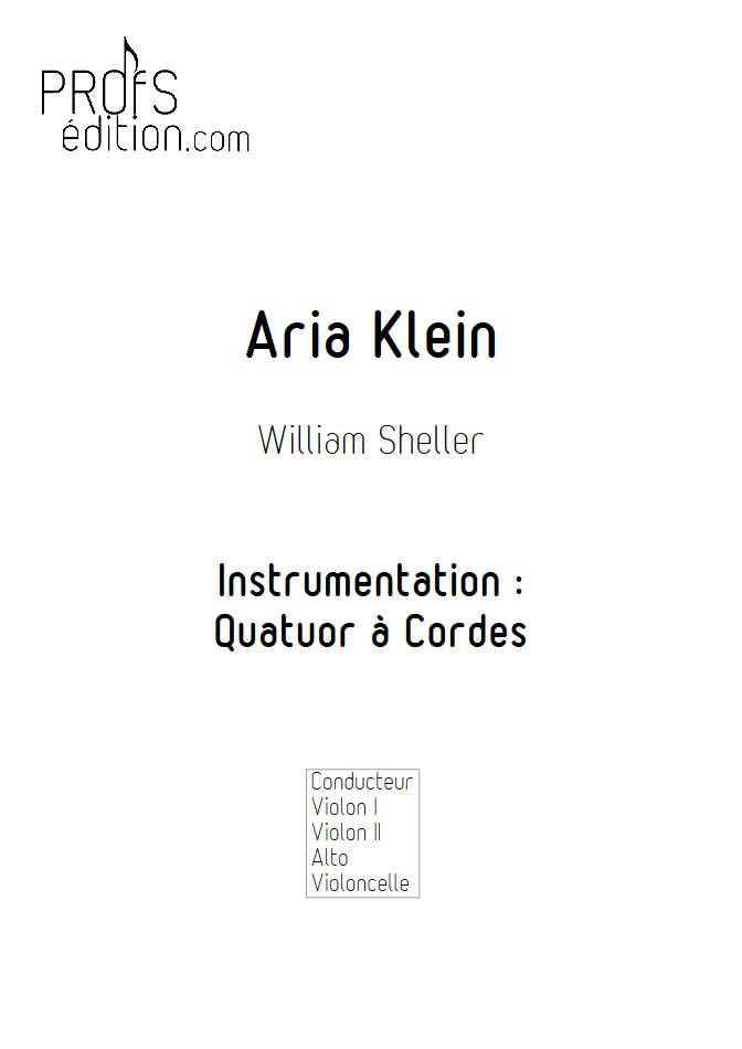 Aria Klein - Quatuor à Cordes - SHELLER W. - front page