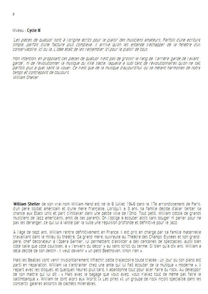 Aria Klein - Quatuor à Cordes - SHELLER W. - Educationnal sheet