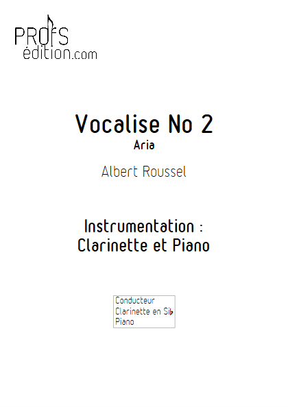 Aria - Duo Clarinette et Piano - ROUSSEL A. - front page