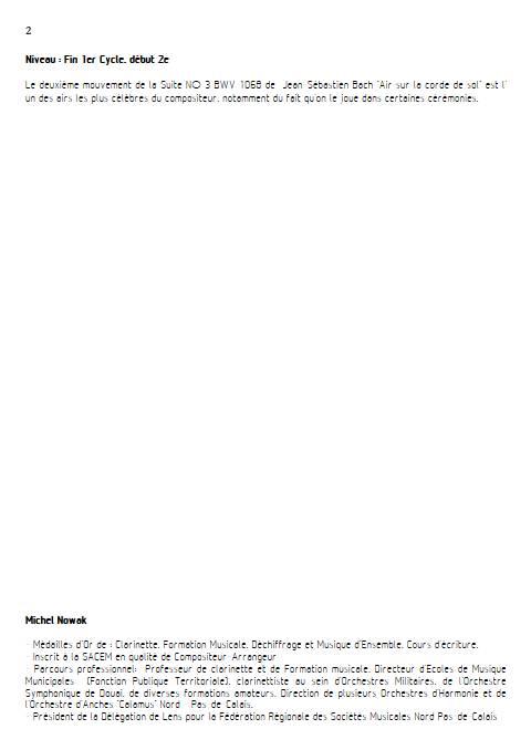 Aria suite en ré - Quatuor de Saxophones - BACH J. S. - Educationnal sheet