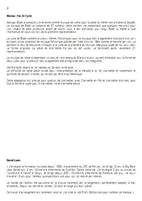 Entr'acte Arlesienne - Quatuor de Clarinettes - BIZET G. - Educationnal sheet