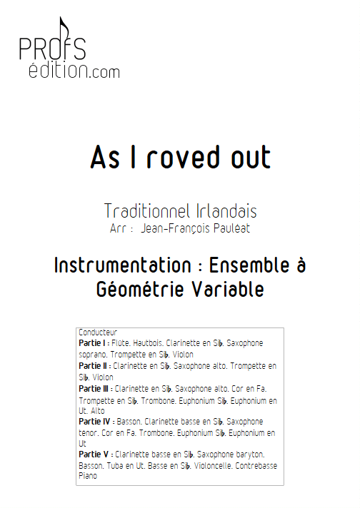 As I roved out - Ensemble à Géométrie Variable - TRAD. IRLANDAIS - front page