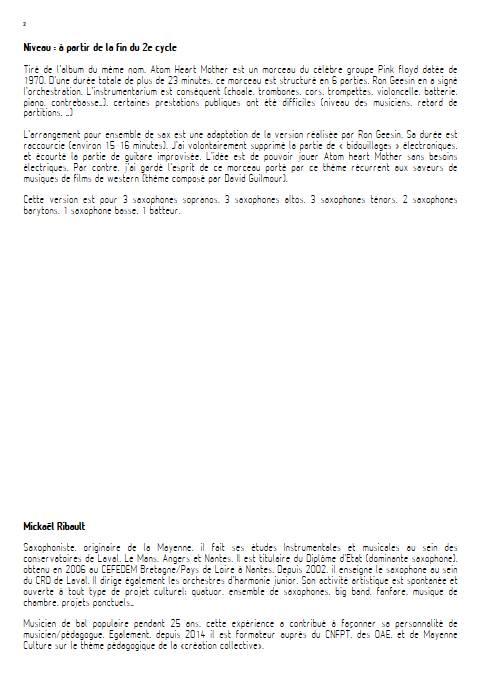 Atom Heart Mother - Ensemble de Saxophones - PINK FLOYD - Educationnal sheet
