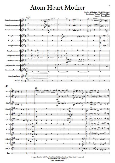 Atom Heart Mother - Ensemble de Saxophones - PINK FLOYD - app.scorescoreTitle