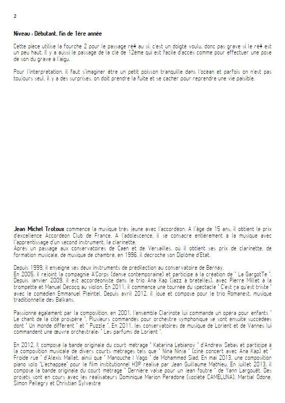 Au fond de l'Océan - Clarinette & Piano - TROTOUX J. M. - Educationnal sheet