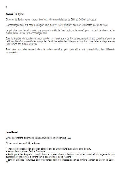 Au bois de saint-Amand - Ensemble Variable - BARBARA - Educationnal sheet