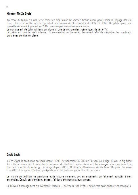 Au cœur du temps - Orchestre d'Harmonie - WILLIAMS J. - Educationnal sheet