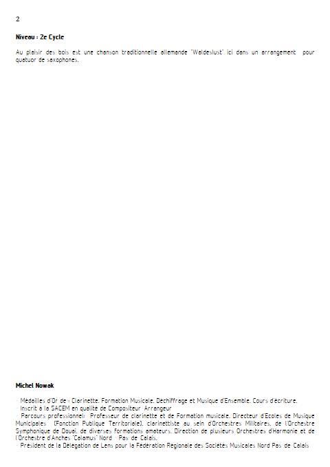 Au plaisir des bois - Quatuor de Saxophones - TRADITIONNEL ALLEMAND - Educationnal sheet