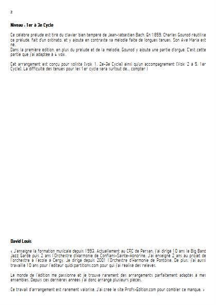 Ave Maria - Ensemble Variable - BACH GOUNOD - Educationnal sheet