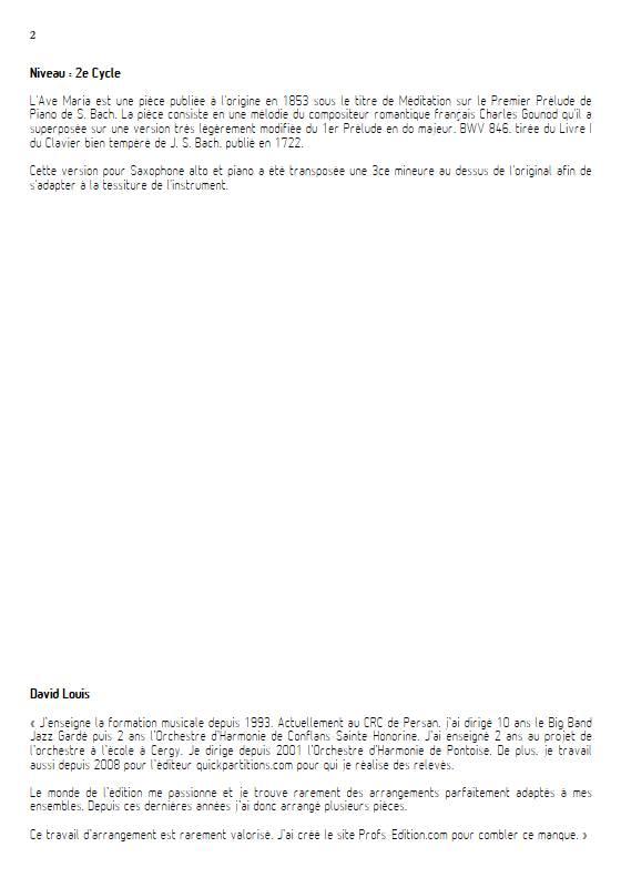 Ave Maria - Saxophone Piano - GOUNOD C. BACH J. S. - Educationnal sheet