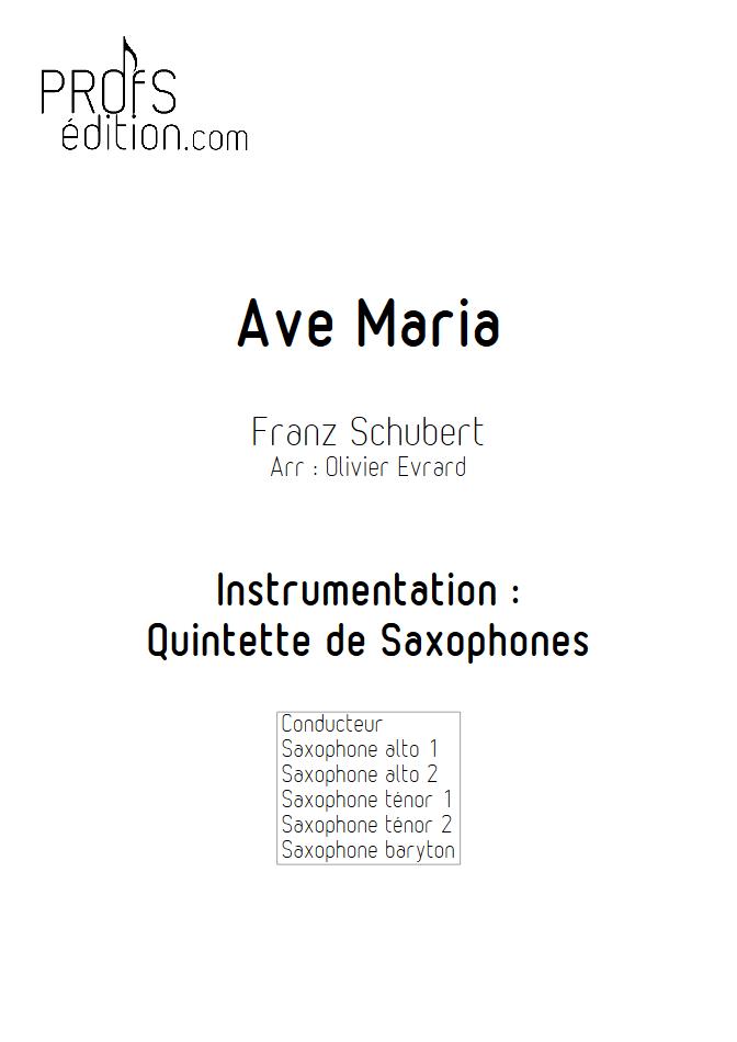 Ave Maria - Quintette de Saxophones - SCHUBERT F. - front page