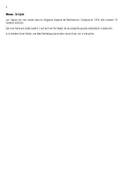 Ave Maria (Vêpres) - Chœur mixte - RACHMANINOV - Educationnal sheet