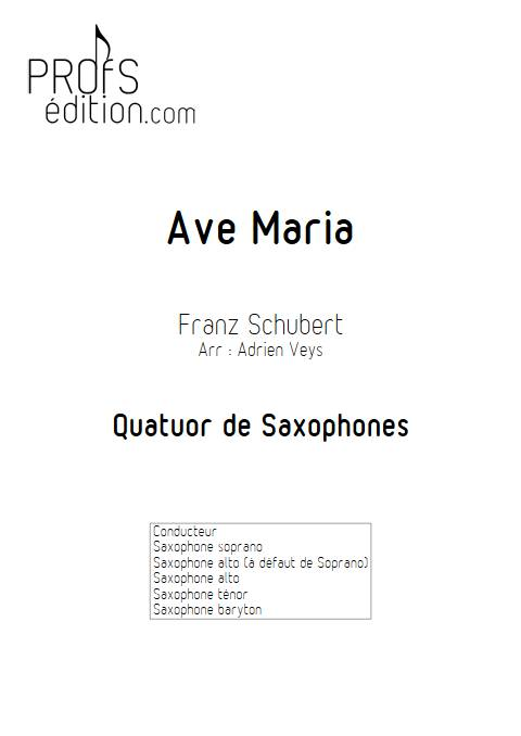 Ave Maria - Quatuor de Saxophones - SCHUBERT F. - front page