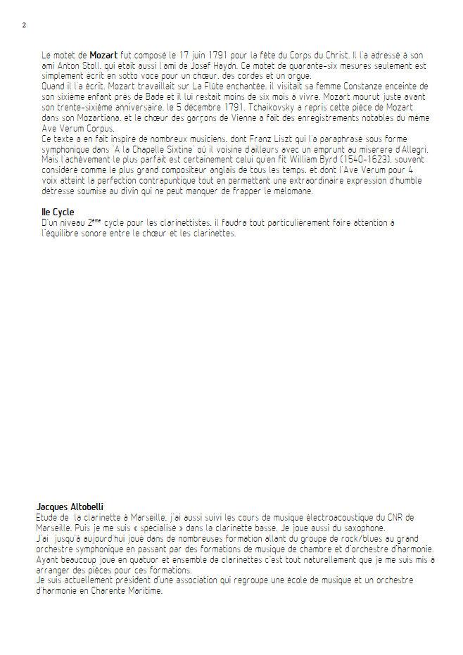 Ave Verum Corpus - Chœur & Quatuor Clarinettes - MOZART W. A. - Educationnal sheet
