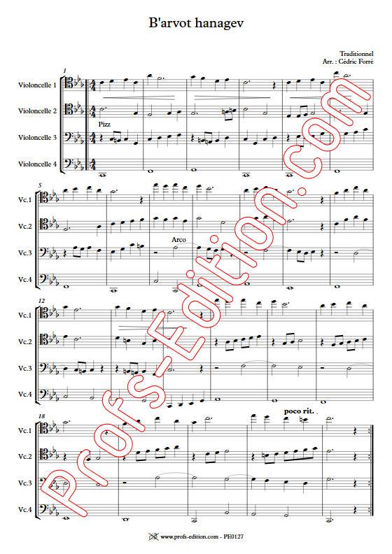 B'arvot hanagen - Quatuor Violoncelles - FORRÉ C. - Educationnal sheet