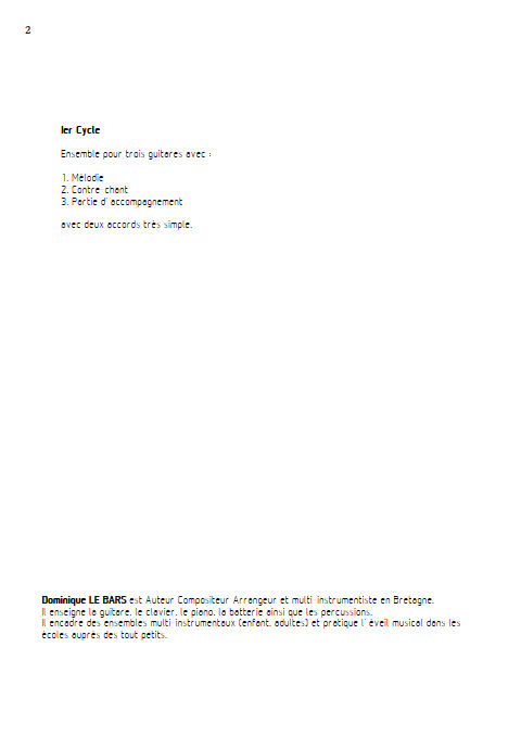 Blues-Rock - Trios Guitare - LE BARS D. - Educationnal sheet