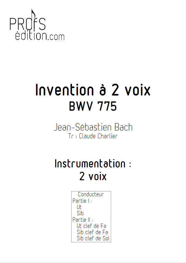 Invention BWV 775 - Duo - BACH J. S. - front page