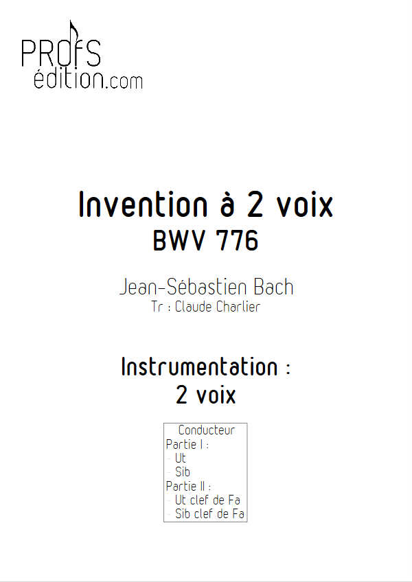 Invention BWV 776 - Duo - BACH J. S. - front page