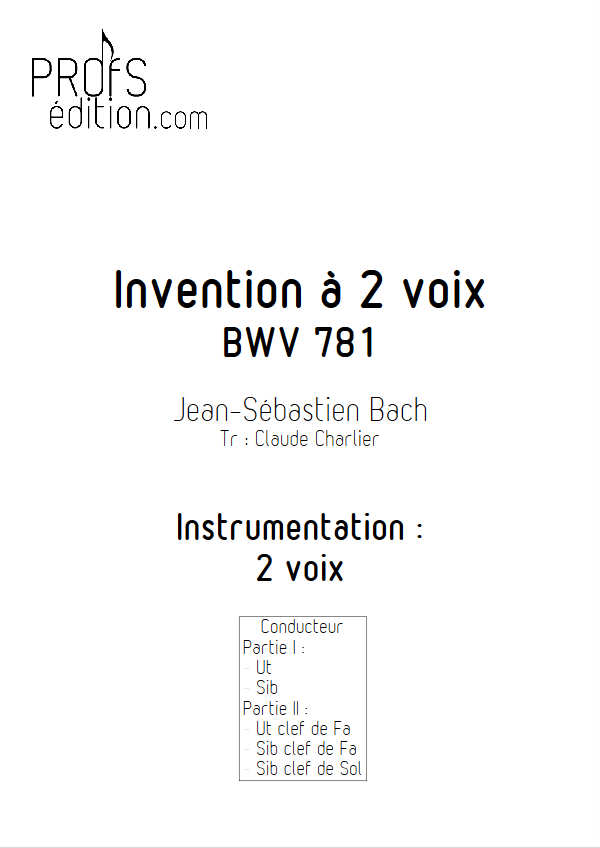 Invention BWV 781 - Duo - BACH J. S. - front page
