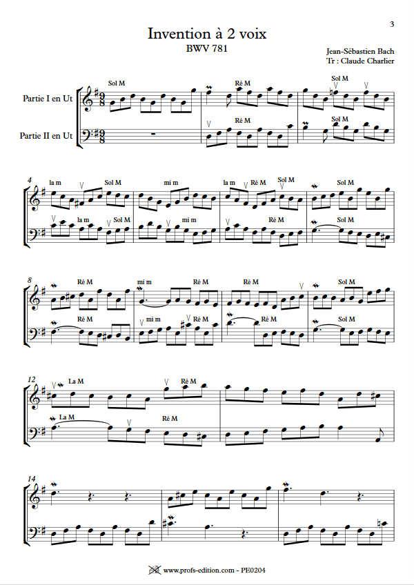Invention BWV 781 - Duo - BACH J. S. - app.scorescoreTitle