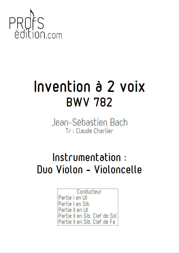 Invention BWV 782 - Duo - BACH J. S. - front page