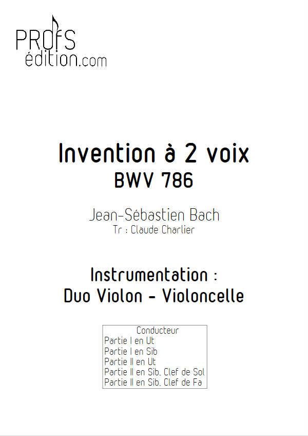 Invention BWV 786 - Duo - BACH J. S. - front page