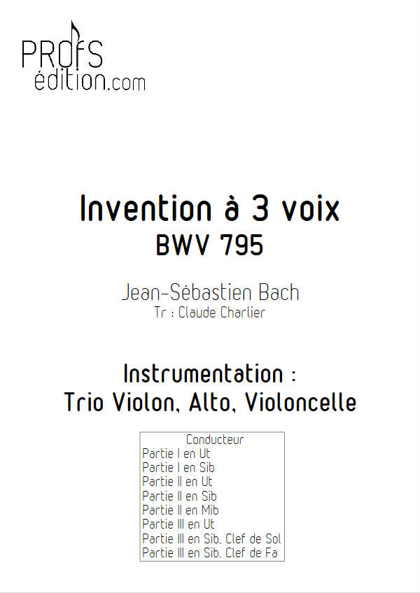Invention BWV 795 - Trio - BACH J. S. - front page