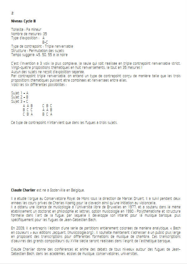 Invention BWV 795 - Trio - BACH J. S. - Educationnal sheet