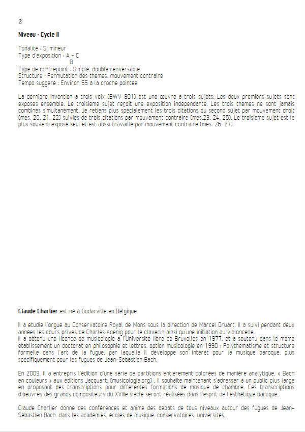 Invention BWV 801 - Trio - BACH J. S. - Educationnal sheet