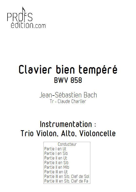 Fugue du Clavier bien tempéré BWV 858 - Trio - BACH J. S. - front page
