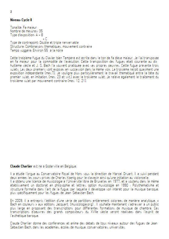 Fugue du Clavier bien tempéré BWV 858 - Trio - BACH J. S. - Educationnal sheet