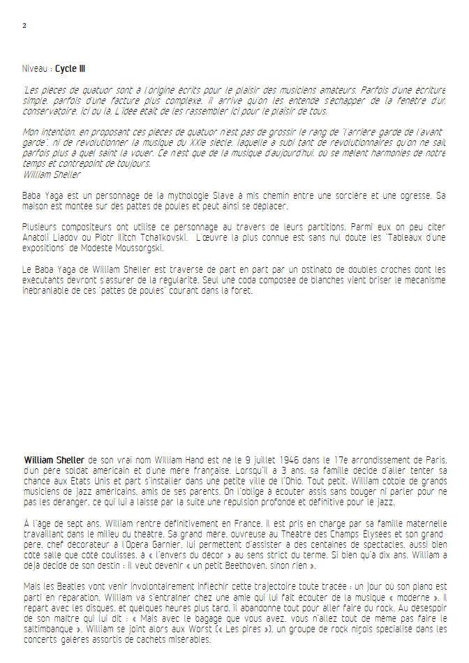 Baba Yaga - Quatuor à Cordes - SHELLER W. - Educationnal sheet