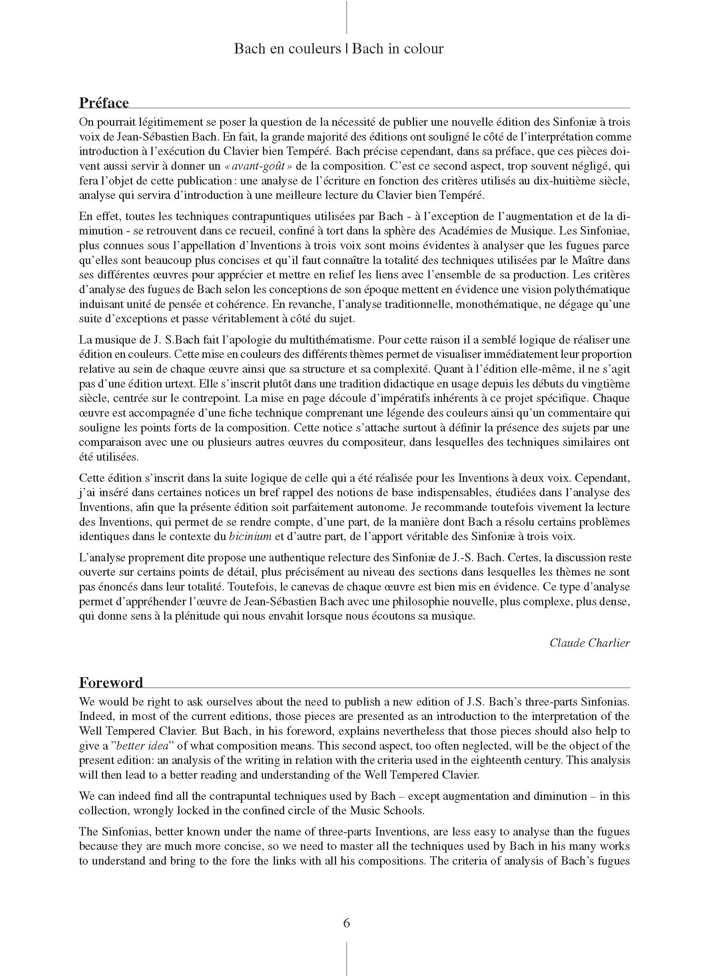 Bach en Couleurs (Inventions à 3 voix) Sinfoniae BWV 787 à 801 - Analyse Musicale - CHARLIER C. - Educationnal sheet