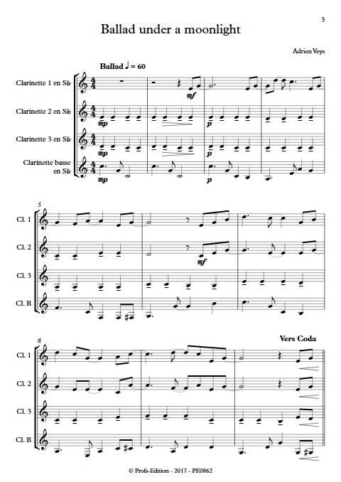 Ballad under a moonlight - Quatuor de Clarinettes - VEYS A. - app.scorescoreTitle