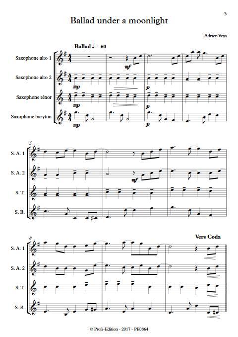 Ballad under a moonlight - Quatuor de Saxophones- VEYS A. - app.scorescoreTitle