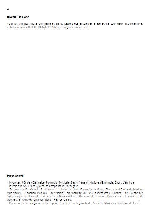 Ballade tropicale - Trio Flûte Clarinette Piano - NOWAK M. - Educationnal sheet