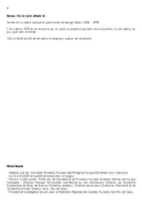 Ballet de Carmen - Quatuor de Saxophones - BIZET G. - Educationnal sheet
