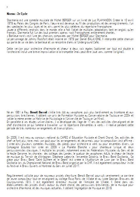 Banlieu Nord - Orchestre d'Harmonie - BERGER M. - Educationnal sheet