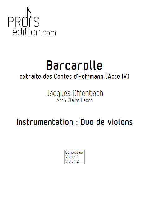 Barcarolle - Duo Violons - TCHAIKOVSKI P. I. - front page