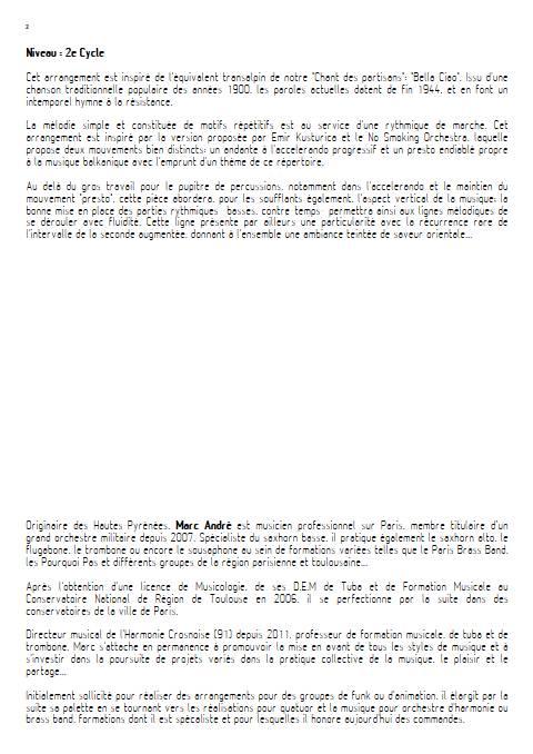 Bella Ciao - Orchestre d'Harmonie - TRADITIONNEL ITALIEN - Educationnal sheet